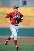 Wes Hatten (8) of the Washington State Cougars returns to the dugout during a game against the Southern California Trojans at Dedeaux Field on March 13, 2015 in Los Angeles, California. Southern California defeated Washington State, 10-3. (Larry Goren/Four Seam Images)
