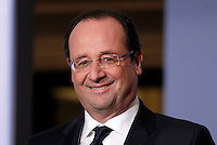 Il Presidente francese Francois Hollande tiene una conferenza stampa congiunta col Presidente del Consiglio italiano al termine del vertice intergovernativo italo-francese a Villa Madama, Roma, 20 novembre 2013.<br />