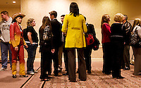 Supporters of John McCain, U.S. senator from Arizona and 2008 Republican presidential candidate, wait in line for a campaign watch party in Dallas, Texas, U.S., on Tuesday, March 4, 2008. Voters in Texas go to the polls on Tuesday, March 4, to vote in the Democratic and Republican primaries. Photographer: Matt Nager/Bloomberg News
