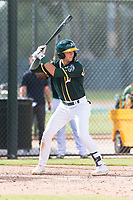 Oakland Athletics third baseman Max Schuemann (45) at bat during an exhibition game against Team Italy at Lew Wolff Training Complex on October 3, 2018 in Mesa, Arizona. (Zachary Lucy/Four Seam Images)