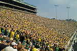 The student section in Autzen stadium get fired up for the game.