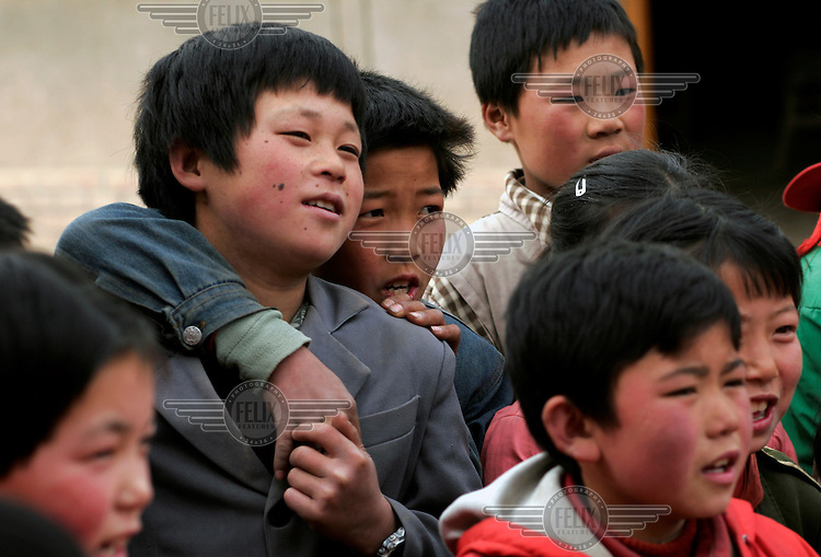 Schoolchildren pictured during a break at Linfang Elementary School.