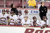Stephanie Olchowski (Boston College - 28), Courtney Kennedy (Boston College - Assistant Coach), Shannon Webster (Boston College - 12), Brie Baskin (Boston College - 4), Kiera Kingston (Boston College - 32), Megan Shea (Boston College - 23), Allison Szlosek (Boston College - 8), Katie King (Boston College - Head Coach) - The Providence College Friars and Boston College Eagles tied at 1 on BC's senior night on Saturday, February 21, 2009, at Conte Forum in Chestnut Hill, Massachusetts.