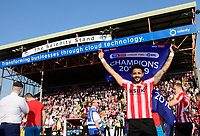 Lincoln City's Bruno Andrade celebrates after winning the league<br /> <br /> Photographer Chris Vaughan/CameraSport<br /> <br /> The EFL Sky Bet League Two - Lincoln City v Tranmere Rovers - Monday 22nd April 2019 - Sincil Bank - Lincoln<br /> <br /> World Copyright © 2019 CameraSport. All rights reserved. 43 Linden Ave. Countesthorpe. Leicester. England. LE8 5PG - Tel: +44 (0) 116 277 4147 - admin@camerasport.com - www.camerasport.com