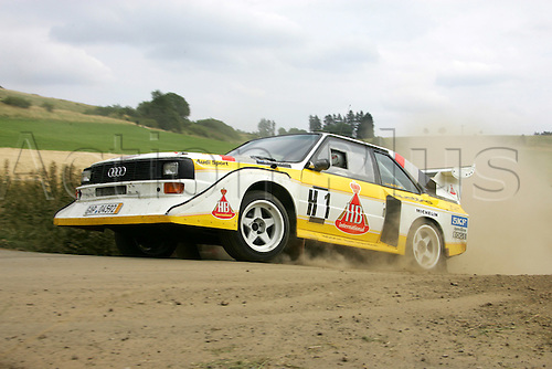 23.07.2005 German WRC Rally driver Armin Schwarz and  Petra Schwarz in Audi Quattro S1 Baujahr 1985 in Action  at the Historic Rally party 2005  Eifel-Rally