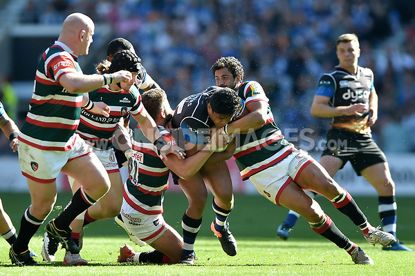 Ben Tapuai of Bath Rugby takes on the Leicester Tigers defence. The Clash, Aviva Premiership match, between Bath Rugby and Leicester Tigers on April 8, 2017 at Twickenham Stadium in London, England. Photo by: Patrick Khachfe / Onside Images