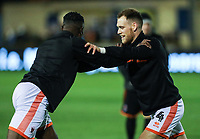 Blackpool's Joe Dodoo and Harry Pritchard warming up<br /> <br /> Photographer Andrew Kearns/CameraSport<br /> <br /> The Emirates FA Cup Second Round - Solihull Moors v Blackpool - Friday 30th November 2018 - Damson Park - Solihull<br />  <br /> World Copyright © 2018 CameraSport. All rights reserved. 43 Linden Ave. Countesthorpe. Leicester. England. LE8 5PG - Tel: +44 (0) 116 277 4147 - admin@camerasport.com - www.camerasport.com