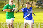 In the last minutes of the game solid defending form St Mary's Mike O'Shea saw off a great run from Skellig Rangers Kieran Keating.