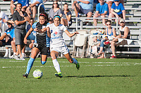 Kansas City, MO - Sunday September 11, 2016: Danielle Colaprico, Shea Groom during a regular season National Women's Soccer League (NWSL) match between FC Kansas City and the Chicago Red Stars at Swope Soccer Village.