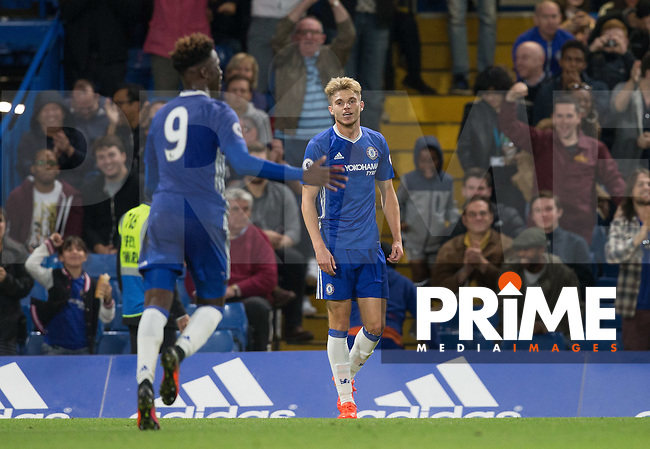 Charlie Wakefield of Chelsea celebrates his goal during the EPL2 - U23 - Premier League 2 match between Chelsea and Arsenal at Stamford Bridge, London, England on 23 September 2016. Photo by Andy Rowland.