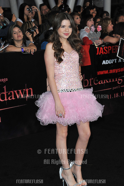 "Jadin Gould at the world premiere of ""The Twilight Saga: Breaking Dawn - Part 1"" at the Nokia Theatre, L.A. Live in downtown Los Angeles..November 14, 2011  Los Angeles, CA.Picture: Paul Smith / Featureflash"