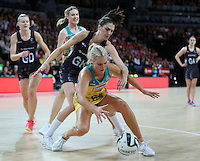 15.10.2016 Silver Ferns Anna Harrison and Australia's Gretal Tippett in action during the Silver Ferns v Australia netball test match played at Vector Arena in Auckland. Mandatory Photo Credit ©Michael Bradley.