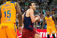 Herbalife Gran Canaria's player Royce O'Neale and Bo McCalebb and FC Barcelona Lassa players Victor Claver during the final of Supercopa of Liga Endesa Madrid. September 24, Spain. 2016. (ALTERPHOTOS/BorjaB.Hojas) NORTEPHOTO.COM