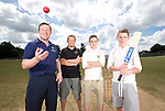 SWALEC ambassador Robert Croft visiting Newtown Cricket Club with 1st team captain Jonathan Davies and team members Callum and Danny Foulkes.<br /> <br /> 24.07.13<br /> &copy;Steve Pope-Sportingwales