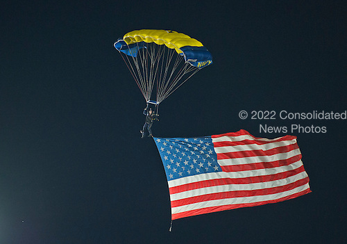 United States Navy Parachute Team, The Leap Frogs perform prior to the game pitting the New York Yankees against the Baltimore Orioles at Oriole Park at Camden Yards in Baltimore, MD on Sunday, September 14, 2014.  Today is the 200th anniversary of the writing of the &quot;Star Spangled Banner&quot;, which was written in Baltimore.<br /> Credit: Ron Sachs / CNP<br /> (RESTRICTION: NO New York or New Jersey Newspapers or newspapers within a 75 mile radius of New York City)