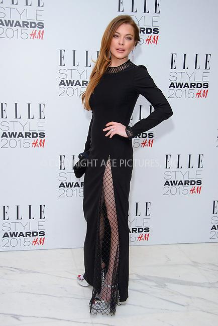 WWW.ACEPIXS.COM<br /> <br /> February 24 2015, London<br /> <br /> Lindsay Lohan arriving at the ELLE style awards 2015 at the Walkie Talkie Tower on February 24 2015 in London<br /> <br /> By Line: Famous/ACE Pictures<br /> <br /> <br /> ACE Pictures, Inc.<br /> tel: 646 769 0430<br /> Email: info@acepixs.com<br /> www.acepixs.com