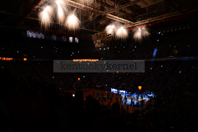 Rupp Arena during the line-up announcement during UK men's basketball game vs. Robert Moriss in Rupp arena Lexington, Ky., on Sunday, November 17, 2013. UK leads Robert Morris 44 - 20 at the half. Photo by Eleanor Hasken | Staff