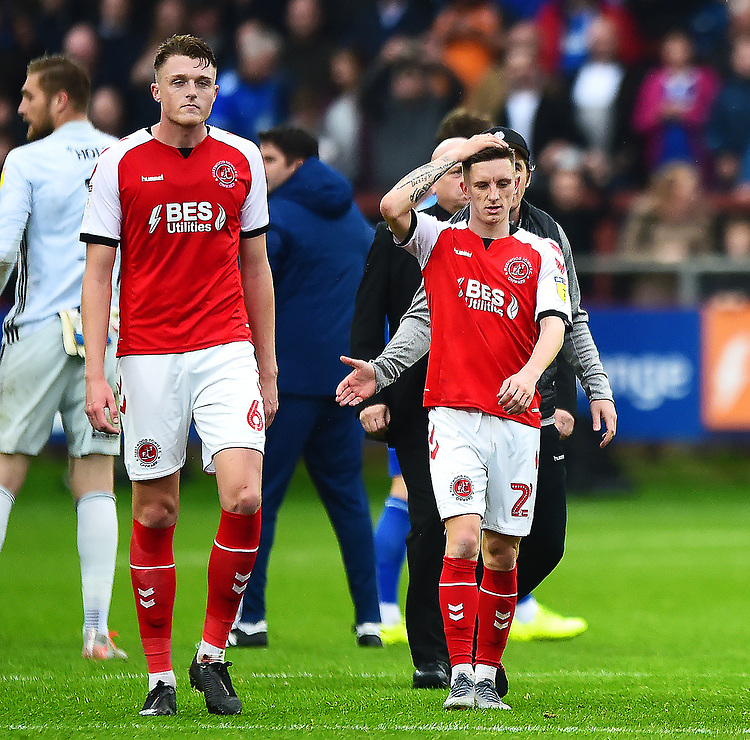 Fleetwood Town's Ashley Hunter and Harry Souttar (L) look dejected at he end of the match<br /> <br /> Photographer Richard Martin-Roberts/CameraSport<br /> <br /> The EFL Sky Bet League One - Fleetwood Town v Ipswich Town - Saturday 5th October 2019 - Highbury Stadium - Fleetwood<br /> <br /> World Copyright © 2019 CameraSport. All rights reserved. 43 Linden Ave. Countesthorpe. Leicester. England. LE8 5PG - Tel: +44 (0) 116 277 4147 - admin@camerasport.com - www.camerasport.com