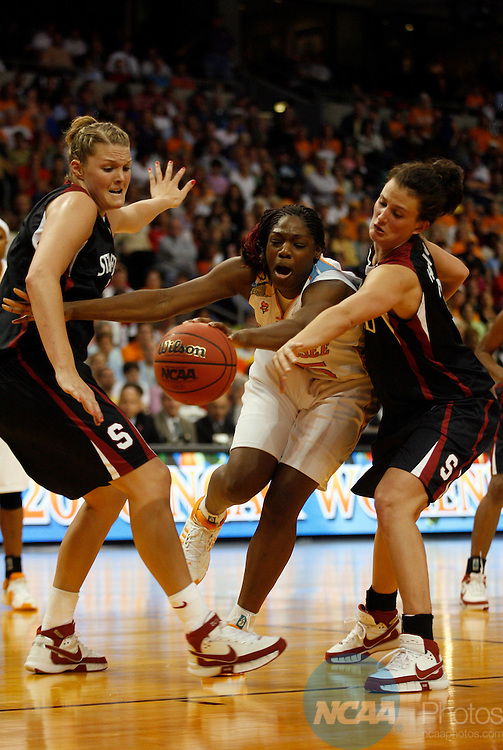 08 APR 2008:  Jayne Appel (2) and Jillian Harmon (33) of Stanford University knock the ball away from Nicky Anosike (55) of the University of Tennessee during the Division I Women's Basketball Championship held at the St. Pete Times Forum in Tampa, FL.  Tennessee defeated Stanford 64-48 for the national title.  Jamie Schwaberow/NCAA Photos