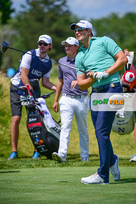Peter Uihlein (USA) watches his tee shot on 12 during Thursday's round 1 of the 117th U.S. Open, at Erin Hills, Erin, Wisconsin. 6/15/2017.<br /> Picture: Golffile | Ken Murray<br /> <br /> <br /> All photo usage must carry mandatory copyright credit (&copy; Golffile | Ken Murray)