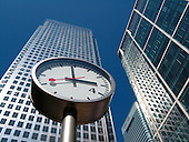 Clock in Reuters' Plaza, Canary Wharf