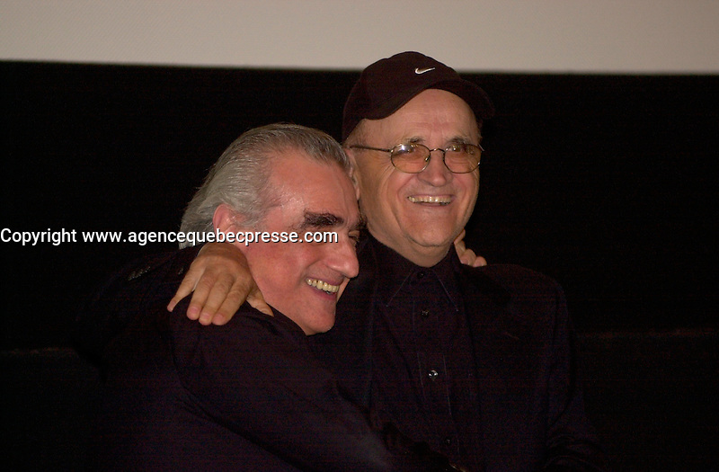 Sept 6 2003, Montreal, Quebec, CANADA<br /> <br /> Martin Scorcese (L) joins Serge LOsique (R) , President World Film Festival before the screning of his movie MEAN STREET ast the 2003  Montreal World Film Festival<br /> <br /> Photo by Pierre Roussel - Images Distribution<br /> (c) 2003, Pierre Roussel