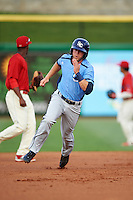 Charlotte Stone Crabs first baseman Grant Kay (2) running the bases during a game against the Clearwater Threshers on April 12, 2016 at Bright House Field in Clearwater, Florida.  Charlotte defeated Clearwater 2-1.  (Mike Janes/Four Seam Images)