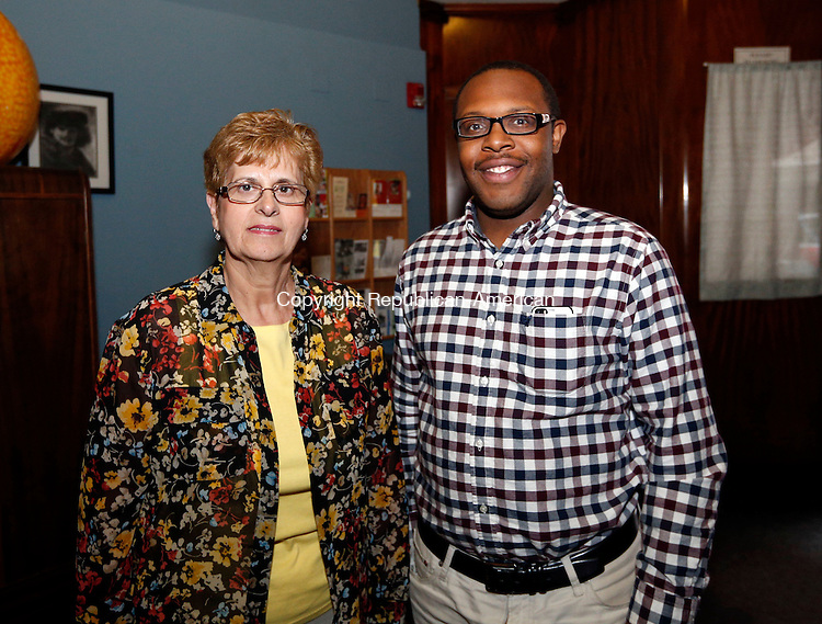 Waterbury, CT- 05 May 2015-050515CM13-  From left, Board of director members, Maria Rodrigues and Bruce Trammell, are photographed during Shakesperience Productions reception of the 2015 Mayor's Arts & Culture Award at it's building on Bank St., in Waterbury on May 05, 2015.  As part of the Give Local fundraising campaign, Sheakesperience Productions put on a 36-hour Shakespeare marathon of event programming.  Christopher Massa Republican-American