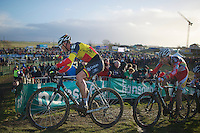 Sven Nys (BEL) with Dieter Vanthourenhout (BEL) in tow<br /> <br /> 2014 Noordzeecross<br /> Elite Men