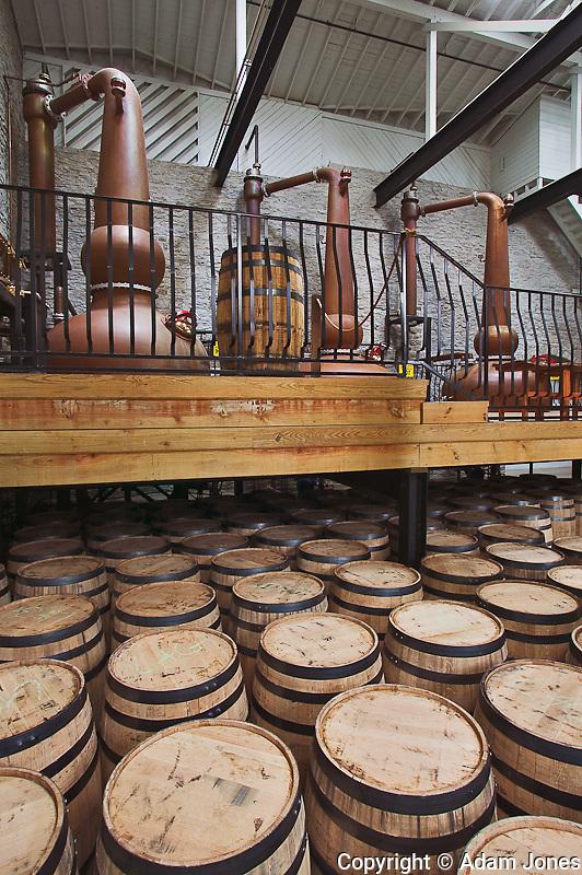 Distinctive copper stills, Labrot & Graham distillery, Versailles, KY
