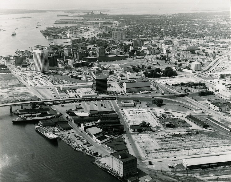 1967 August ..Redevelopment.Downtown South (R-9)..Looking West at Downtown..Sam McKay.NEG#.NRHA#..