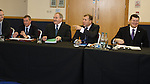 Campbell Ogilvie, Rod Petrie, Stewart Regan and Neil Doncaster at the meeting of the SFA, SPL and SFL boards today at Hampden