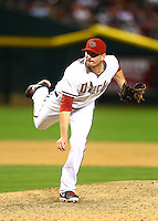 Apr 6, 2015; Phoenix, AZ, USA; Arizona Diamondbacks pitcher Daniel Hudson against the San Francisco Giants during opening day at Chase Field. Mandatory Credit: Mark J. Rebilas-USA TODAY Sports