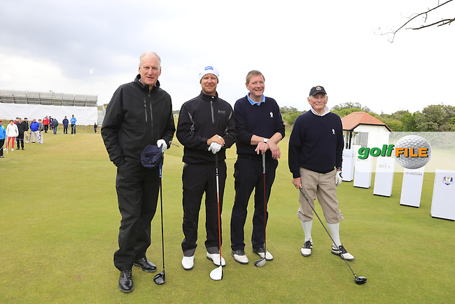 Defending Champion Mikko ILONEN (FIN) with Brian Gibson, Kenneth McCaw and Campbell Morton on the 1st tee during the Pro-Am of the 2015 Dubai Duty Free Irish Open, Royal County Down Golf Club, Newcastle Co Down, Northern Ireland. 27/05/2015 <br /> Picture Eoin Clarke, www.golffile.ie