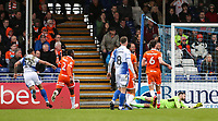 Blackpool's Jonson Clarke-Harris (left) peels away after scoring his side's second goal <br /> <br /> Photographer Andrew Kearns/CameraSport<br /> <br /> The EFL Sky Bet League Two - Bristol Rovers v Blackpool - Saturday 2nd March 2019 - Memorial Stadium - Bristol<br /> <br /> World Copyright © 2019 CameraSport. All rights reserved. 43 Linden Ave. Countesthorpe. Leicester. England. LE8 5PG - Tel: +44 (0) 116 277 4147 - admin@camerasport.com - www.camerasport.com