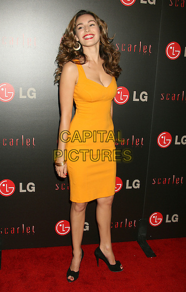 KELLY BROOK.LG Electronics (LG) Launch of the Scarlet HD TV Series held at the Pacific Design Center, West Hollywood, California, USA..April 28th, 2008.full length yellow orange dress cleavage gold bracelets black shoes .CAP/ADM/RE.©Russ Elliot/AdMedia/Capital Pictures.