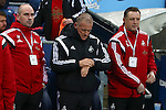 Swansea's care-taker manager Alan Curtis checks his watch - Manchester City vs Swansea - Barclays Premier League - Etihad Stadium - Manchester - 12/12/2015 Pic Philip Oldham/SportImage