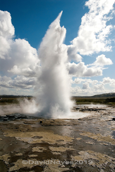 Erupting its 66-foot column of water about every 4-8 minutes, Strokkur geyser in Iceland is a fountain geyser in the geothermal area beside the Hvítá River.