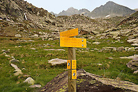 Parc National du Mercantour.  Signpost at the junction of several walking tracks in the Vallee des Merveilles, Alpes-Maritimes, Provence, France.