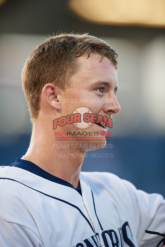 Charlotte Stone Crabs center fielder Jake Stone (21) during a game against the Palm Beach Cardinals on April 20, 2018 at Charlotte Sports Park in Port Charlotte, Florida.  Charlotte defeated Palm Beach 4-3.  (Mike Janes/Four Seam Images)