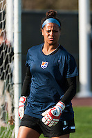 Sky Blue FC goalkeeper Brittany Cameron (1). Sky Blue FC defeated the Western New York Flash 1-0 during a National Women's Soccer League (NWSL) match at Yurcak Field in Piscataway, NJ, on April 14, 2013.