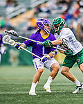 6 April 2019:  University at Albany Great Dane Attacker Tehoka Nanticoke, a Sophomore from Six Nations, Ontario, in action against the University of Vermont Catamounts at Virtue Field in Burlington, Vermont. The Cats rallied to defeat the Danes 10-9 in America East divisional play. Mandatory Credit: Ed Wolfstein Photo *** RAW (NEF) Image File Available ***