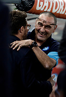 Calcio, Serie A: Roma, stadio Olimpico, 14 ottobre 2017.<br /> AS Roma's coach Eusebio Di Francesco (l) greets Napoli's coach Maurizio Sarri (r) before the Italian Serie A football match between Roma and Napoli at Rome's Olympic stadium, October14, 2017.<br /> UPDATE IMAGES PRESS/Isabella Bonotto