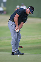Eric Axley (USA) watches his putt on 18 during round 3 of the AT&T Byron Nelson, Trinity Forest Golf Club, at Dallas, Texas, USA. 5/19/2018.<br /> Picture: Golffile | Ken Murray<br /> <br /> <br /> All photo usage must carry mandatory copyright credit (© Golffile | Ken Murray)