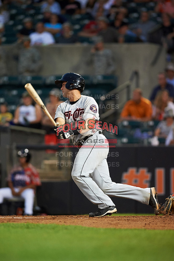 Tri-City ValleyCats catcher Anthony Hermelyn (7) at bat during a game against the Aberdeen Ironbirds on August 6, 2015 at Ripken Stadium in Aberdeen, Maryland.  Tri-City defeated Aberdeen 5-0 in a combined no-hitter.  (Mike Janes/Four Seam Images)
