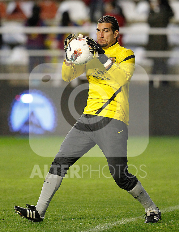 FC Barcelona's Jose Manuel Pinto during La Liga match.April 29,2012. (ALTERPHOTOS/Acero)