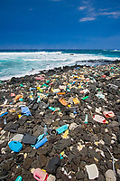 marine debris from around the world washed up on these beaches at South Point due to strong wind and current, Big Island, Hawaii, USA, Pacific Ocean