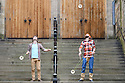 """Flip FabriQue, a Quebecois circus company, who are appearing in """"Attrape Moi!"""" (Catch Me!) perform juggling skills from the show in the courtyard of the Assembly Hall, where they are appearing throughout August."""