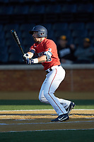 Ayden Karraker (9) of the Liberty Flames follows through on his swing against the Wake Forest Demon Deacons at David F. Couch Ballpark on April 25, 2018 in  Winston-Salem, North Carolina.  The Demon Deacons defeated the Flames 8-7.  (Brian Westerholt/Four Seam Images)