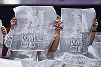 College Park, MD - NOV 13, 2017: Maryland Terrapins fans pull out newspapers and are disinterested as the South Carolina Gamecocks starting line up's are called  before the game between No. 4 ranked South Carolina and the No. 15 Maryland Terrapins at the XFINITY Center in College Park, MD. The Gamecocks defeated Maryland 94-86.  (Photo by Phil Peters/Media Images International)